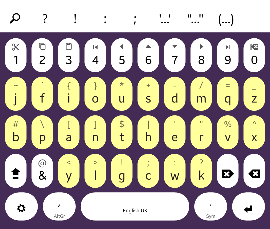 Ian Z2 swiping keyboard layout